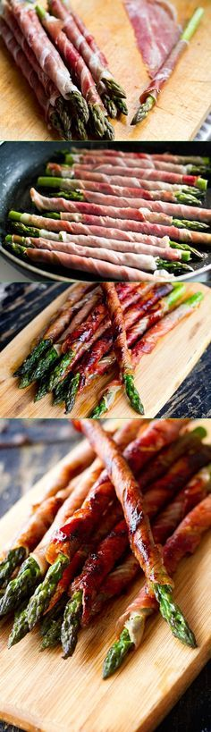 Asparagus wrapped with prosciutto and pan seared - so easy and SO DELICIOUS! Perfect for a party.