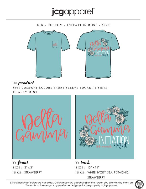 JCG Apparel : Custom Printed Apparel : Delta Gamma Initiation T-Shirt #deltagamma #deegee #dg #initiation #night #rose #handdrawn