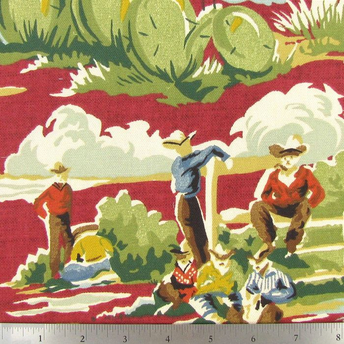 Ride 'Em Cowboy Home Decor Fabric. For dining chairs.