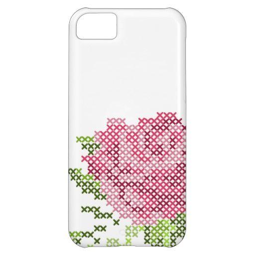 Cross Stitch Rose iPhone 5C Cases