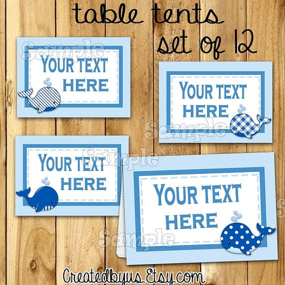 Boy Baby shower Whale food tent cards Name card by CREATEDBYUS