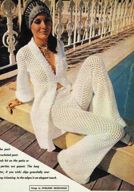 Vintage hippie pants crochet beach cover pattern PDF Instant Download crochet…