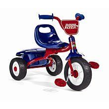 """Radio Flyer Boys Fold 2 Go Tricycle - Red and Blue by Radio Flyer. $109.99. The Boy's Fold 2 Go Tricycle is a fully assembled trike that folds up for easy portability and storage. It has an easy to carry handle grip and fun storage under the seat. These is also a safety latch that keeps the trike secure. It has non-slip wheels for great pedaling performance.Antonio Pasin started Radio Flyer in 1917; his dream was to """"bring joy to every boy and every girl"""". Today, the Radio ..."""