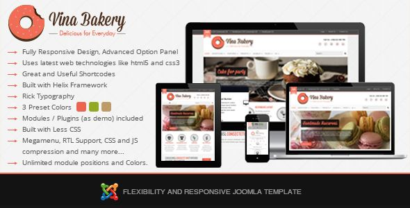 Vina Bakery is a Flexibility and Responsive Joomla Template focused on businesses. It includes everything business website will ever need. It's a highly versatile Premium Joomla Template that everybody wants. The design is clean and you have three presets options to choose from. More details here: http://thecoders.vn/joomla-templates/item/146-vina-bakery-flexibility-and-responsive-joomla-template.html