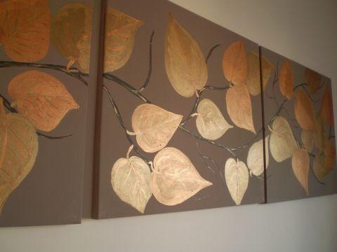 Egyedifestmenyek - Bronzerdő - színhangulat kép, Dekoráció, Képzőművészet , Festmény, Akril, Meska #acrylic #leaves #gold #metal