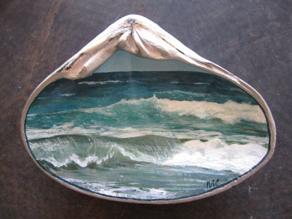 SALE! Ocean painting, Hand Painted Clam Shell, Waves, Beach Home Decor,