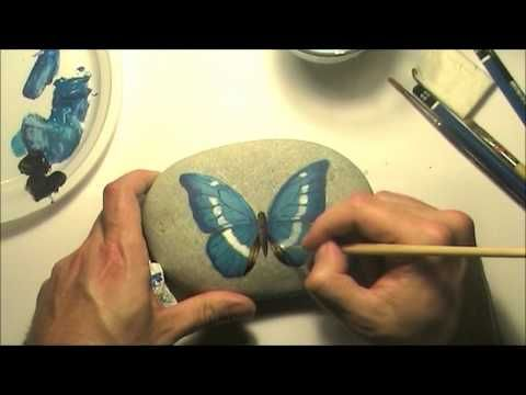 How to paint a blue butterfly on a sea rock | Speed painting tutorial | Rock painting art by Roberto Rizzo  | www.robertorizzo.com