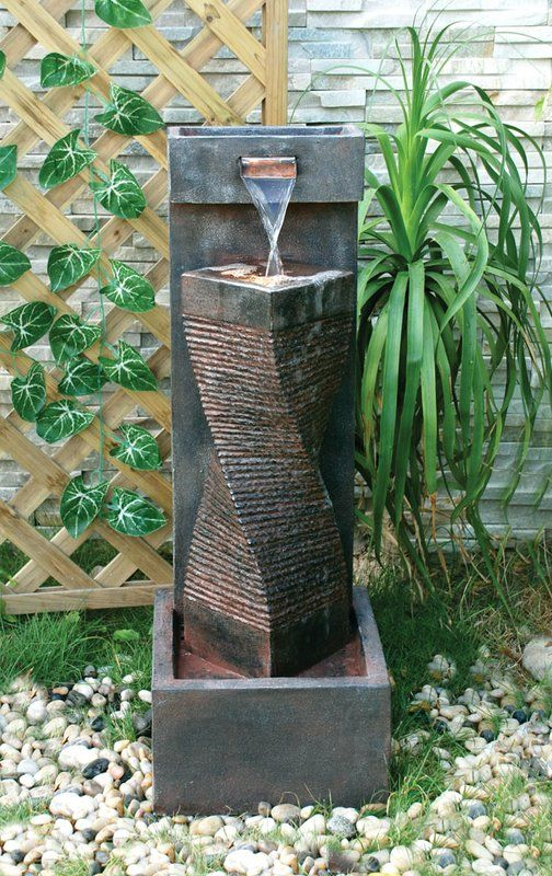 Resin Column Fountain With Light Fountains Outdoor Diy Water