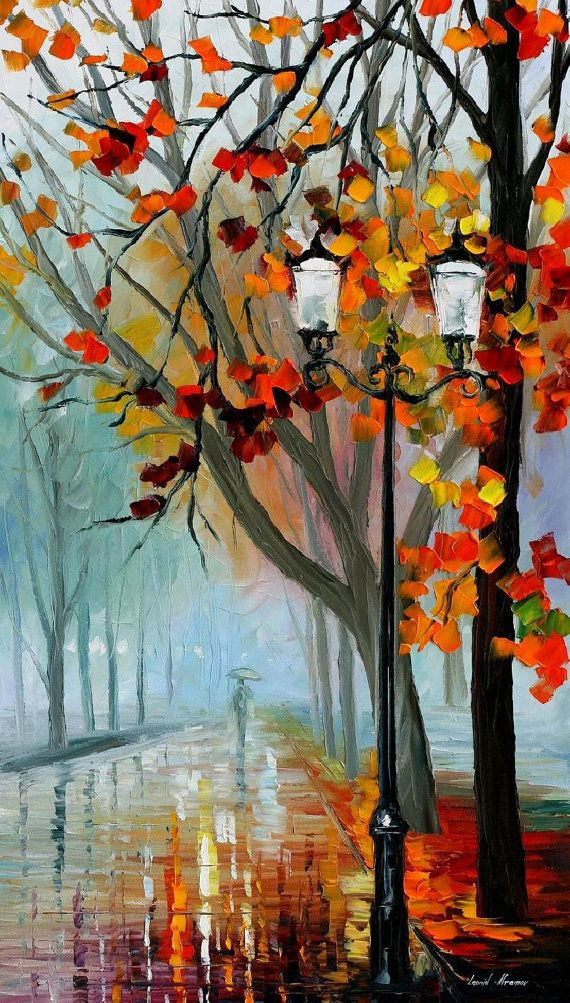"Autumn Fog — Palette Knife Rainy Landscape Bedroom Decor Oil Painting On Canvas By Leonid Afremov. Size: 20"" X 36"" Inches (50 cm x 90 cm)"