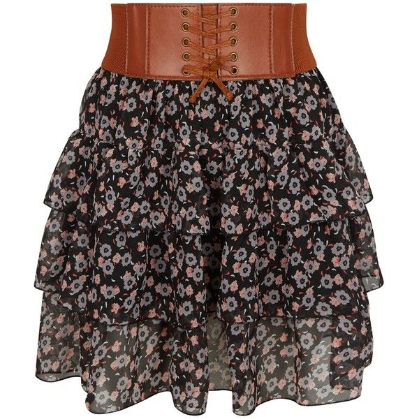 New Look Teens Black Floral Print Belted Rara Skirt (£13) ❤ liked on Polyvore featuring skirts, black pattern, patterned skirts, summer maxi skirts, floral skirt, flower print skirt and print maxi skirt