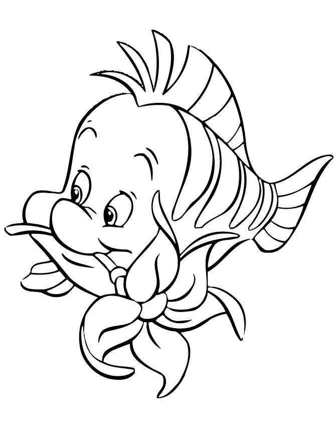 Flounder Biting Flower Cartoon Coloring Page