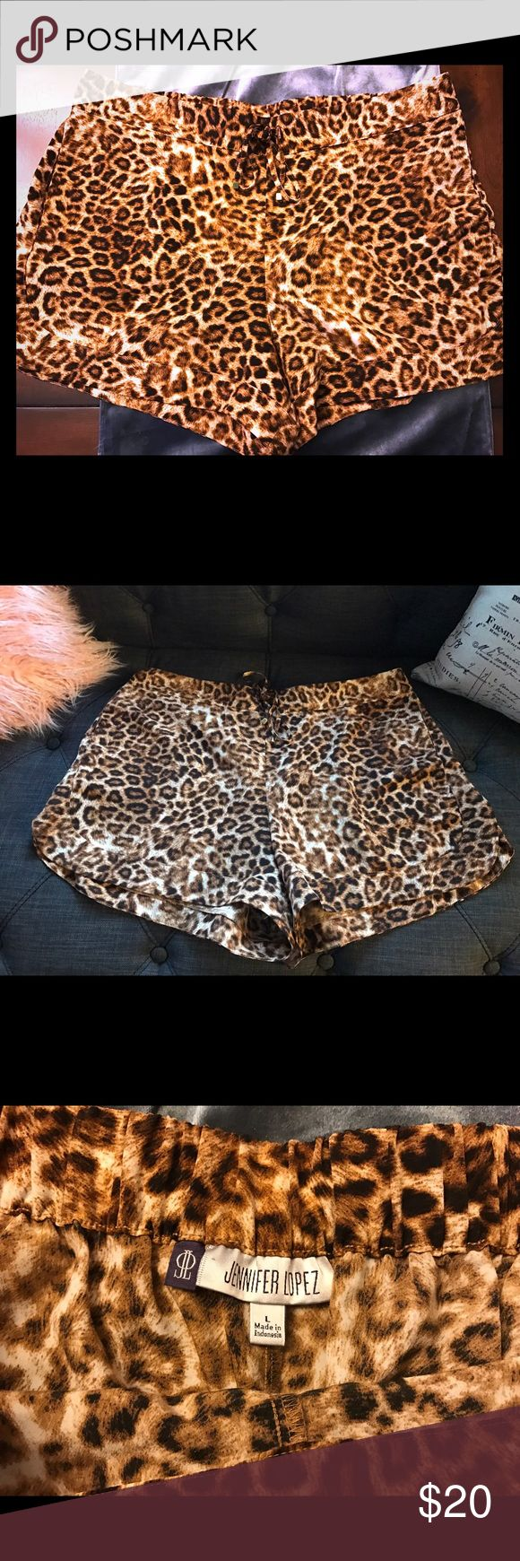 Silky leopard shorts Worn once super comfortable leopard print shorts. Tie front with stretch waist band. Soooo comfortable !!! Jennifer Lopez Shorts