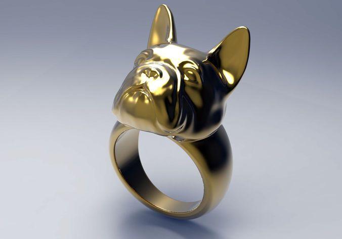 French Bulldog Ring Stl For 3d Printer 3d Print Model French