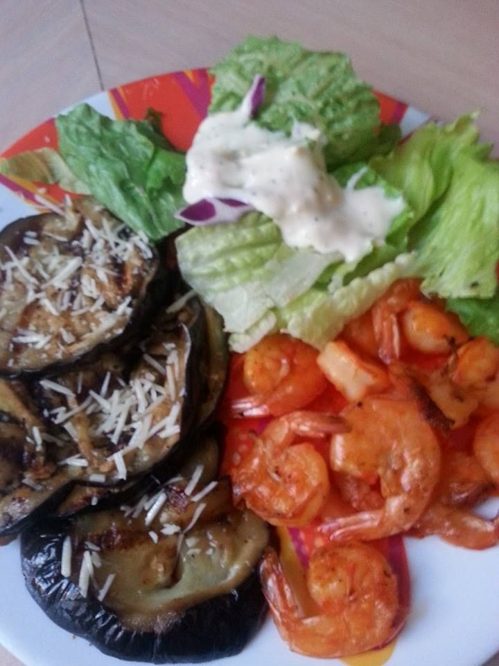... dinner, grilled shrimp and eggplant w/grated parmesan, and salad
