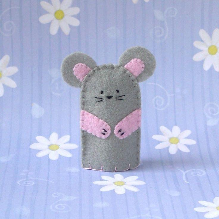 Grey Mouse Finger Puppet. $5.00, via Etsy.