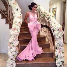 2016 nieuwe sexy roze lange avondjurken bow ruches maat abendkleider bruiloft jurk robe de soiree S11303(China (Mainland))