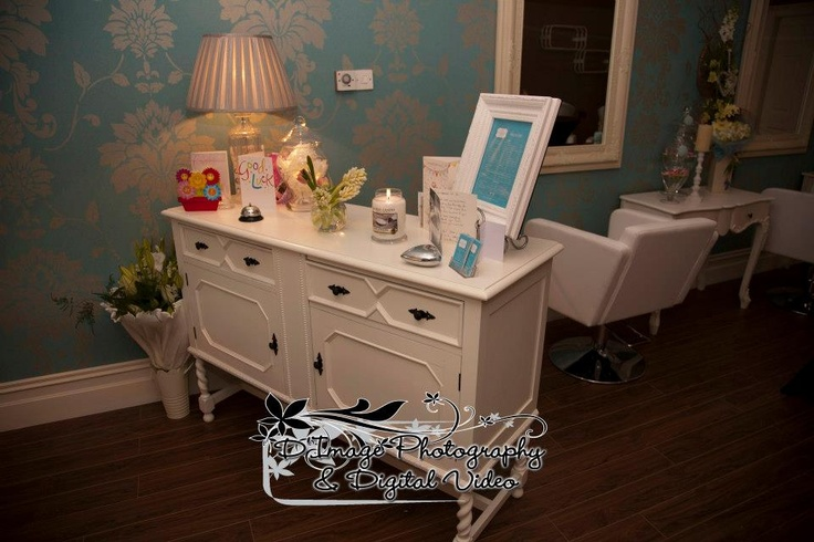 reception desk @cathrionas hair salon vintage style hairsalon