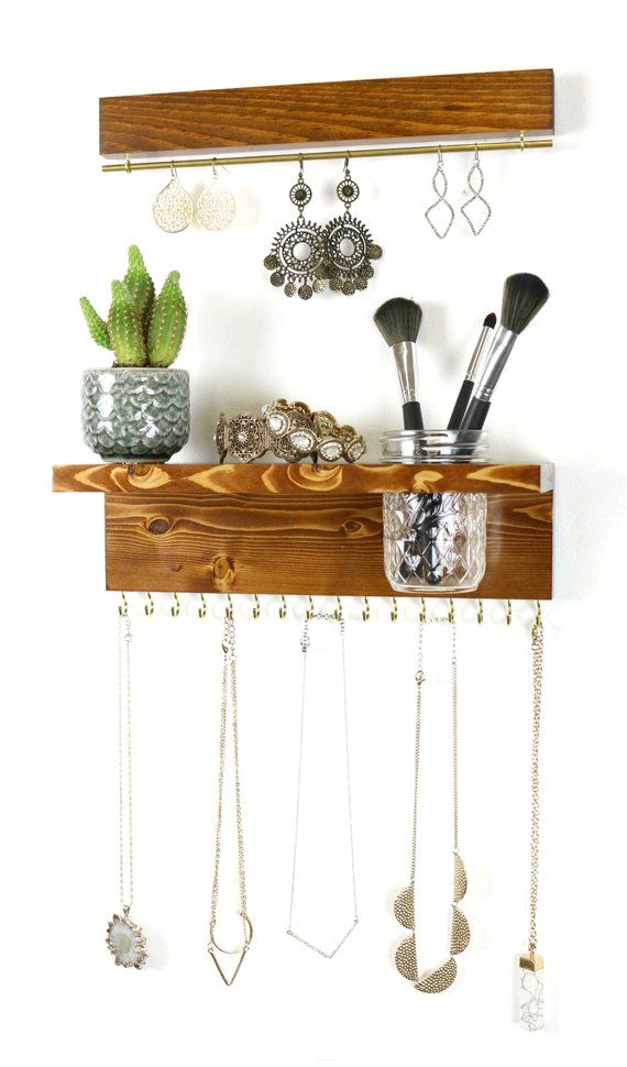 Wall Mount Jewelry Organizer, Necklace Holder with Mason Jar and Earring Display