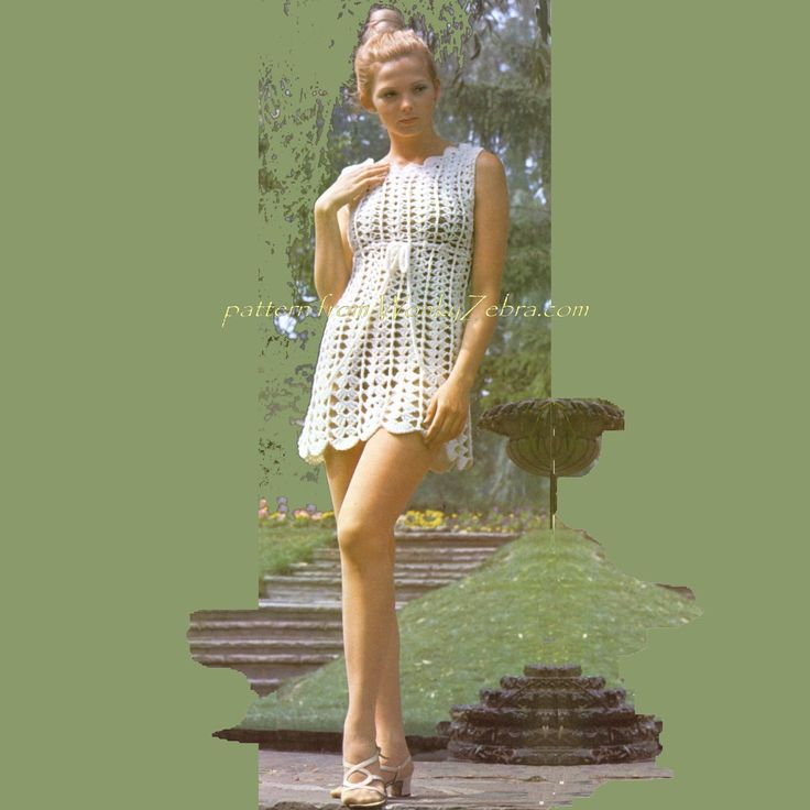 A goddess dress in chunky and easy crochet from this vintage 60s pattern. PDF from WonkyZebra.com $3