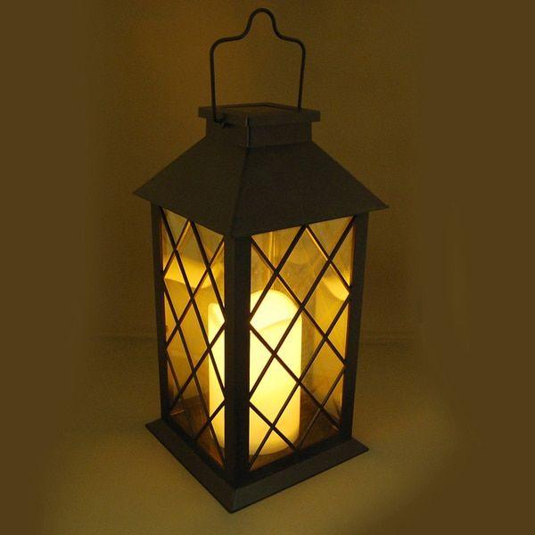 Solar Powered Black Tudor Lantern with LED Candle $29