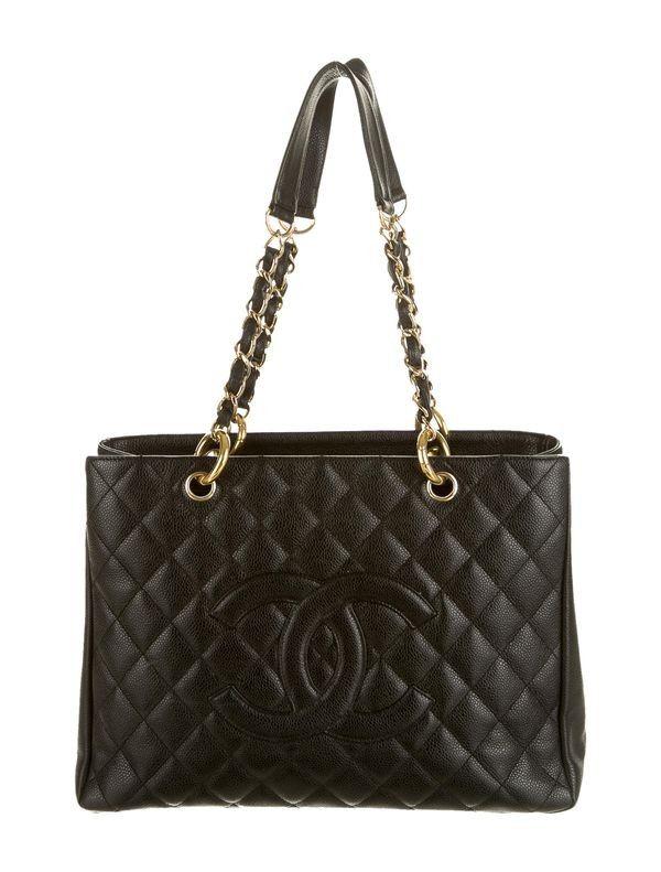 Chanel Gran totalizador de las compras Negro Con Oro