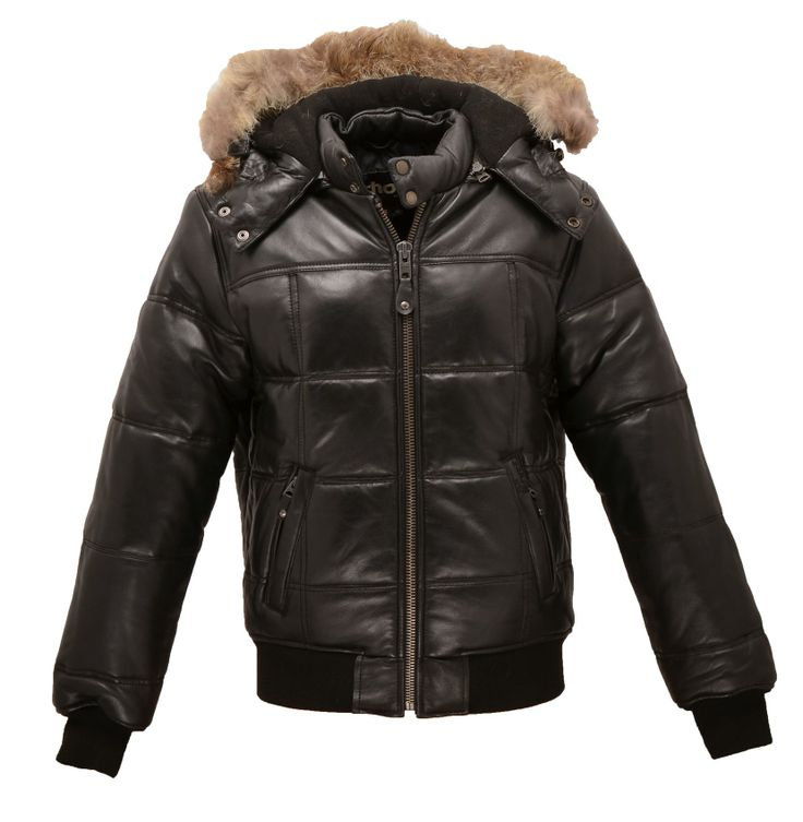 Blouson Schott cuir noir doudoune #fashion