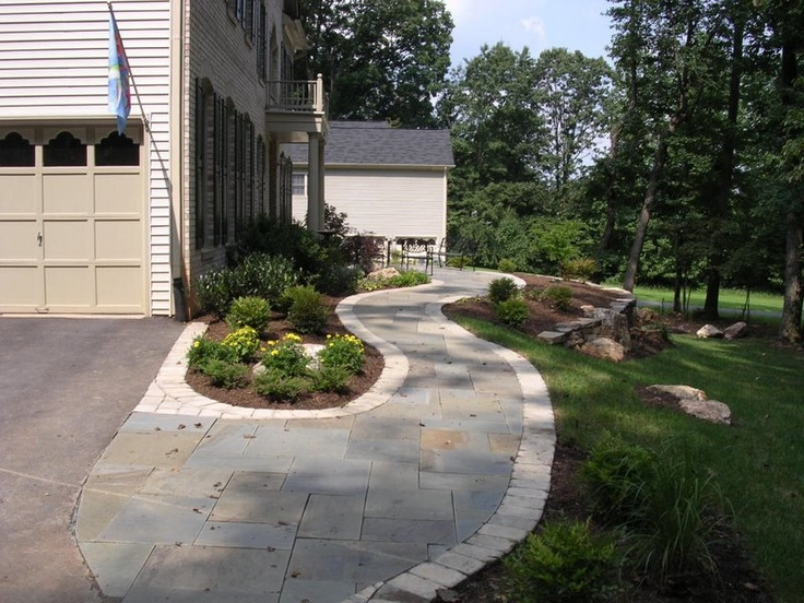 Landscaping Ideas Garage Area : Stone walkway and garage landscaping paving stones