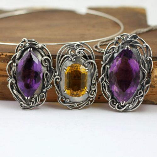Pendants | Agnieszka Hopkowicz.  Sterling silver with citrine or amethysts.  From the Modern Baroque series