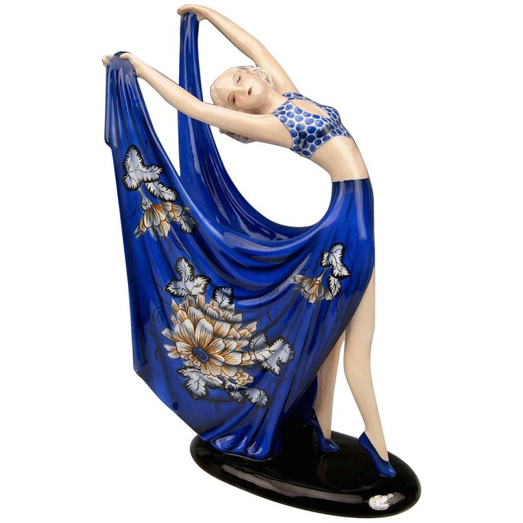 Goldscheider Vienna Lady Dancer Blue Dress By Stefan Dakon C.1938 | From a unique collection of antique and modern figurines at https://www.1stdibs.com/furniture/dining-entertaining/figurines/