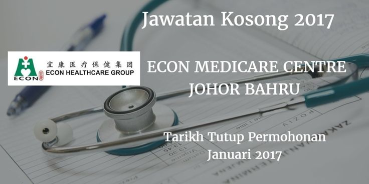 Jawatan Kosong ECON MEDICARE CENTRE JOHOR BAHRU Januari 2017  ECON MEDICARE CENTRE JOHOR BAHRU mencari calon-calon yang sesuai untuk mengisi kekosongan jawatan ECON MEDICARE CENTRE JOHOR BAHRU terkini 2017.  Jawatan Kosong ECON MEDICARE CENTRE JOHOR BAHRU Januari 2017  Warganegara Malaysia yang berminat bekerja di ECON MEDICARE CENTRE JOHOR BAHRU dan berkelayakan dipelawa untuk memohon sekarang juga. Jawatan Kosong ECON MEDICARE CENTRE JOHOR BAHRU Terkini Januari 2017: HEALTHCARE ASSISTANT…