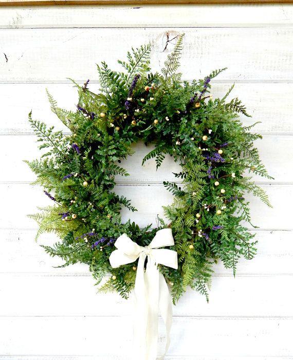 PURPLE & WHITE FERN WreathWedding WreathFront by WildRidgeDesign, $65.00