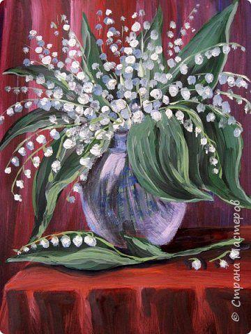 Картина панно рисунок Мастер-класс Рисование и живопись Ландыши Бумага Гуашь фото 1