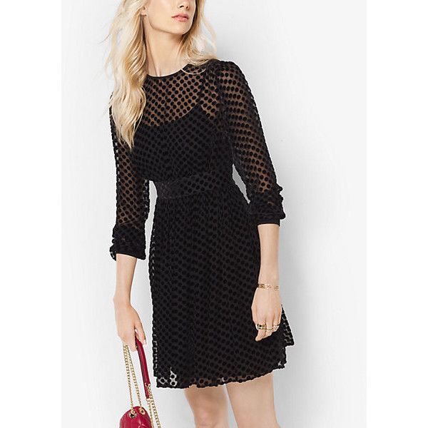 MICHAEL Michael Kors Polka Dot Devore Velvet Dress (300 CAD) ❤ liked on Polyvore featuring dresses, black, multi color dress, sheer dress, polka dot dress, going out dresses and see-through dresses