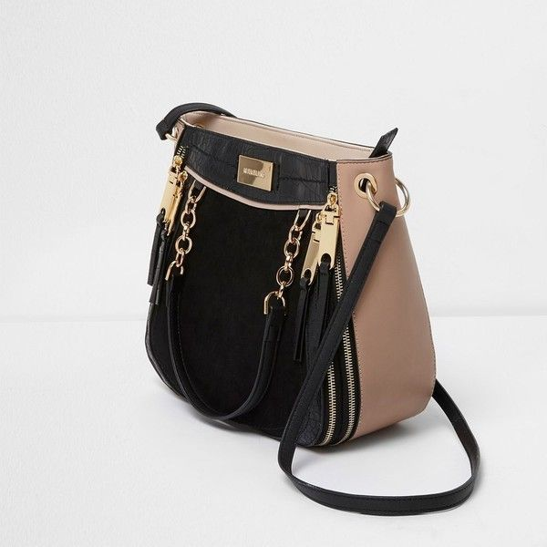 River Island Black chain zip scoop cross body tote bag ($76) ❤ liked on Polyvore featuring bags, handbags, tote bags, bags / purses, black, shopper & tote bags, women, hand bags, oversized tote bags and handbag purse