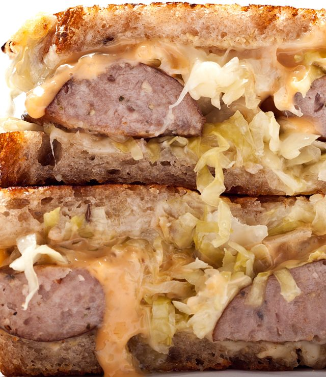 A delicious kielbasa Reuben sandwich recipe.