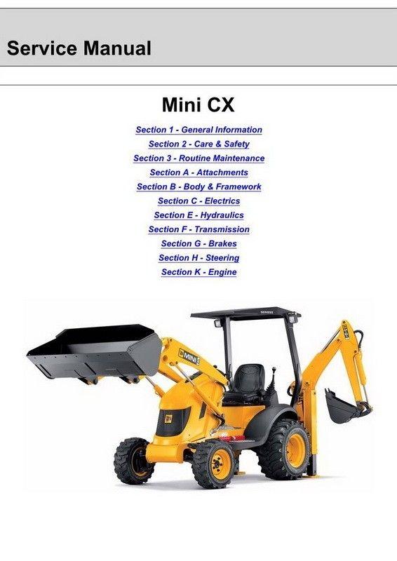 JCB Mini CX Backhoe Loader Service Manual 9803 9340 8