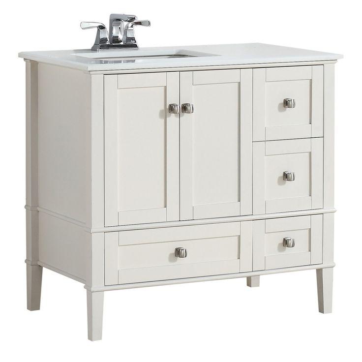 simpli home chelsea soft white 37in undermount single sink birch bathroom vanity with engineered stone top