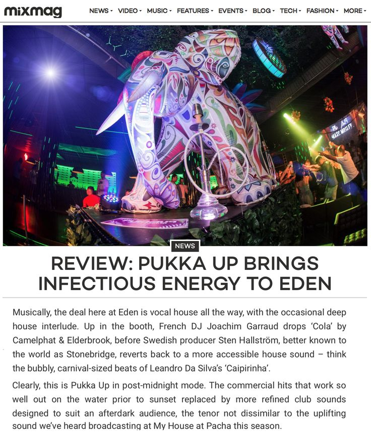 Thank you Mixmag for the awesome review of mine and Joachim Garraud's Jango Music/Pukka Up show at Eden Ibiza a couple of weeks ago! Read full article here: http://mixmag.net/feature/review-pukka-up-brings-infectious-energy-to-eden/2 #stonebridge #tour #ibiza #house