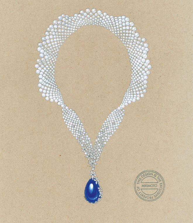 Croquis d'un collier Mikimoto en perles Akoya, tanzanite et diamants, 2014