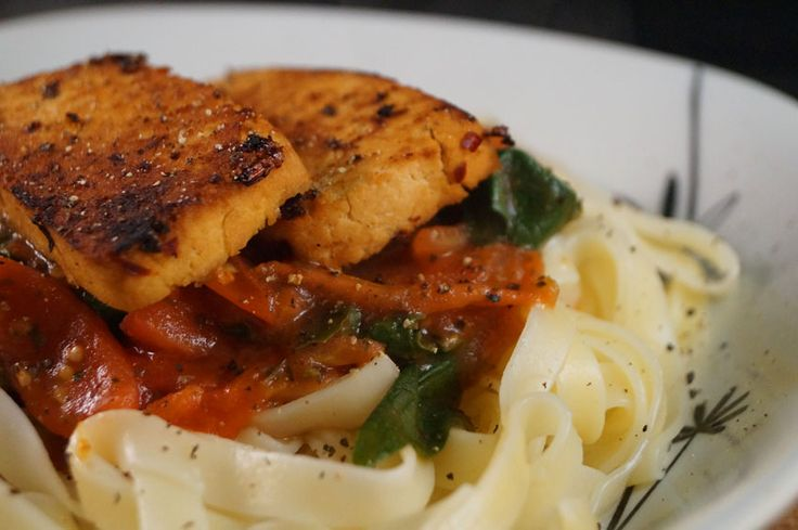 Tagliatelle with Balsamic & Chili Marinated Tofu Pan Seared and served ...