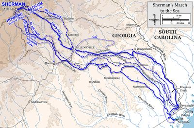 Sherman's March to the Sea is the name commonly given to the military Savannah Campaign in the American Civil War, conducted through Georgia from November 15 to December 21, 1864 by Maj. Gen. William Tecumseh Sherman of the Union Army. The campaign began with Sherman's troops leaving the captured city of Atlanta, Georgia, on November 15 and ended with the capture of the port of Savannah on December 21.