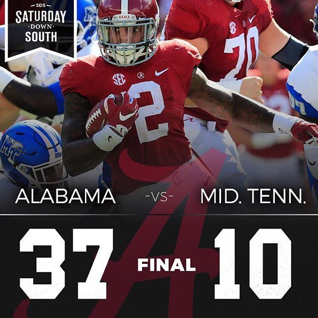 Derrick Henry scores another 3 TDs vs MTSU in a 37 - 10 win.