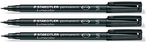 From 4.32 Staedtler Lumocolor Black Superfine Permanent Marker Pens Pack Of 3 Waterproof Smudge Resistant Quick Dry Cd Dvd Ohp