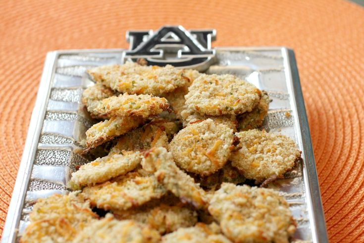 """Baked """"Fried"""" Pickles - a healthier version of fried pickles! Perfect tailgate/football party food."""