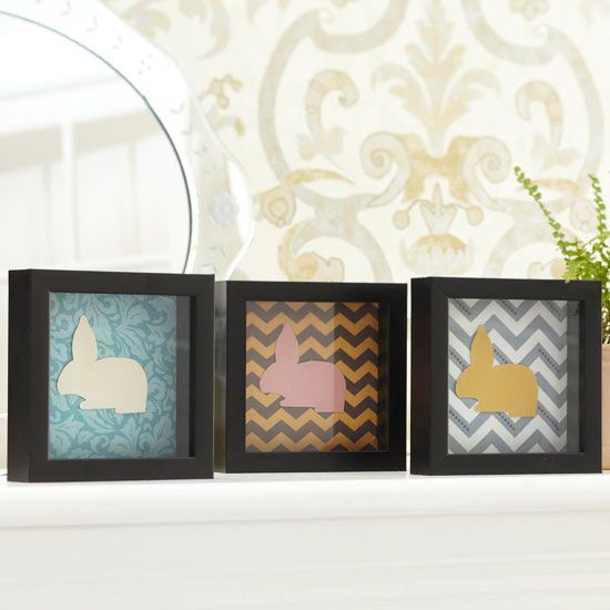 Framed Paper Easter Bunnies - Hop into Easter decorating with these oh-so-easy framed bunnies. All you need is 6-inch-square window boxes, fabric, scrapbook paper, and our bunny pattern (available here). Trace the pattern onto various colors of paper; cut out. Use adhesive to secure cutouts to 6-inch squares of patterned fabric, and set the fabric squares in each window box.