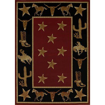 Loon Peak Durango Cowboy Up Midnight Black/Brown Area Rug Rug Size: 5' x 8'