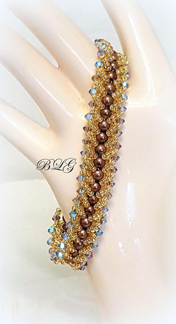 Chocolate Pearl Bracelet Flat Spiral Bracelet Seed Bead