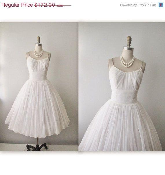 STOREWIDE SALE 50's Wedding Dress // Vintage 1950's Rhinestone Chiffon Wedding Dress Tea Gown S M