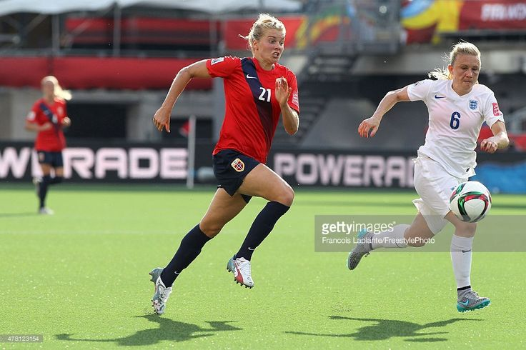 Laura Bassett #6 of England defends against Ada Hegerberg #21 of Norway on a loose ball during the FIFA Women's World Cup Canada 2015 round of 16 match between Norway and England at Lansdowne Stadium on June 22, 2015 in Ottawa, Canada.