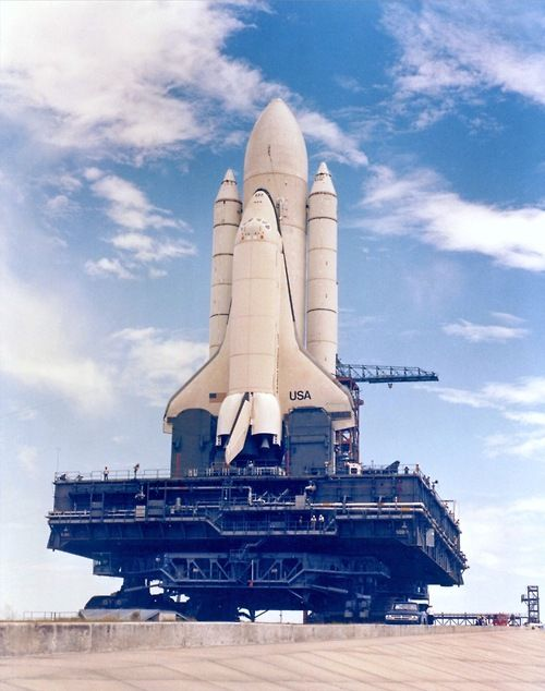 NASA Rollout - STS-1.  You can tell by the white external tank.